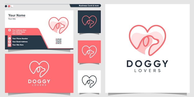 Dog logo for dog lovers with love element line art style and business card design premium vector