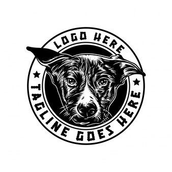 Dog logo handrawn vintage