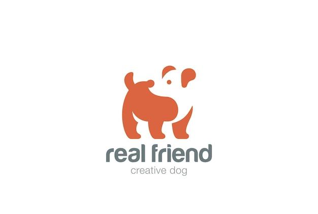 Значок логотипа собаки. негативный космический стиль.