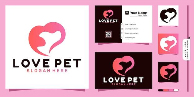 Логотип собаки с современной концепцией любви и дизайном визитной карточки