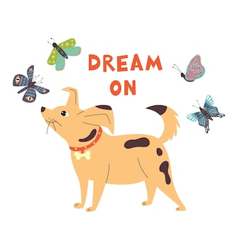 The dog looks butterflies