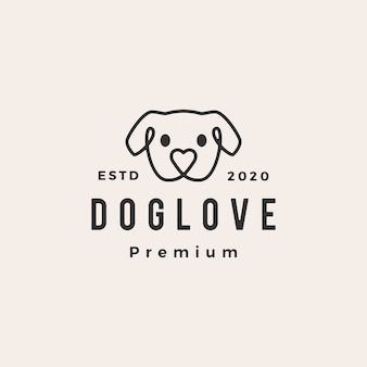 Dog love hipster vintage logo  icon illustration
