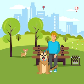 Dog lover walk in park vector flat illustration