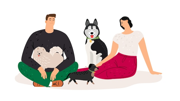 Dog lovers. couple with pets. flat woman man and dogs characters, vector illustration