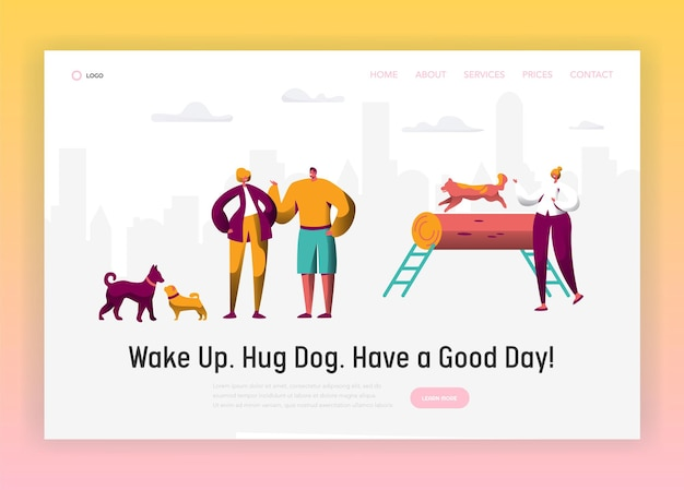 Dog and man spend time together landing page.