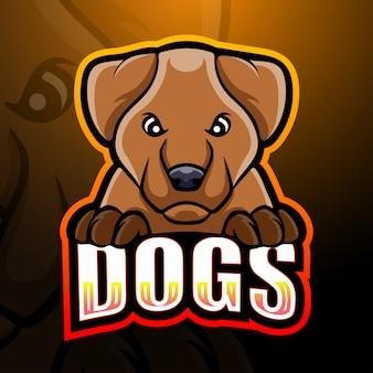 Собака талисман киберспорт иллюстрация