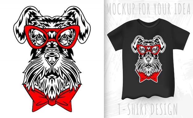 개 미니어처 슈 나 우 저 얼굴 복고 스타일입니다. 빈티지 스타일의 티셔츠 인쇄를위한 디자인 아이디어.