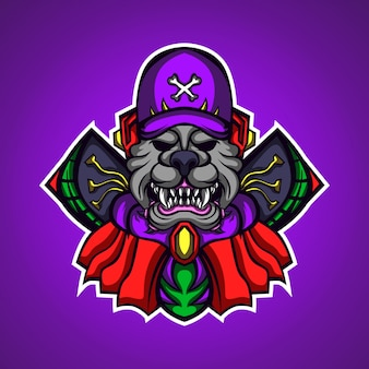Собака-монстр, игровой талисман, логотип
