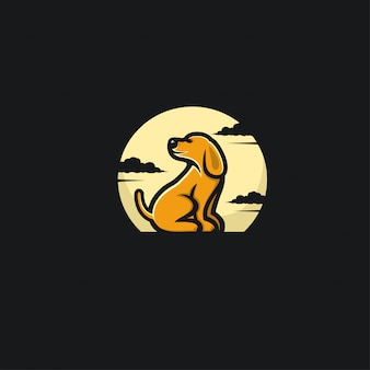 Dog and moon design ilustration