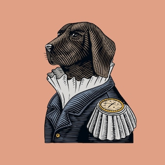 古い制服を着た犬の警官または軍人。