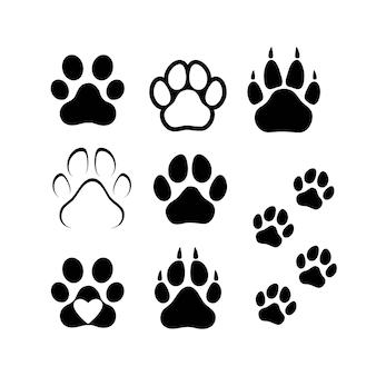 犬や猫の足跡。ベクトル孤立したシルエット。