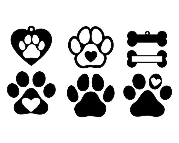 개나 고양이 발자국. 벡터 고립 된 실루엣입니다.