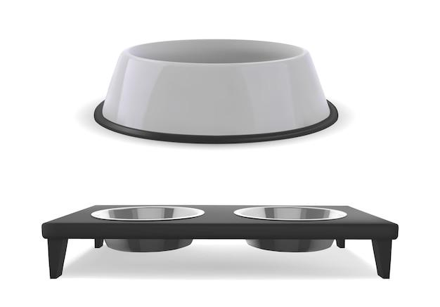 Пластиковая миска для собак или кошек. реалистичный белый 3d контейнер для еды. отдельные векторные иллюстрации.