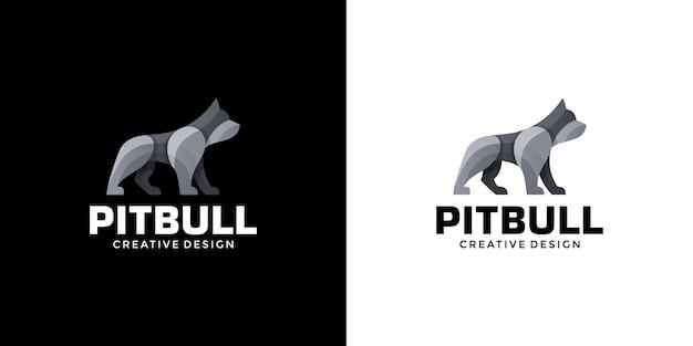 犬やピットブルのモダンでクリーンなクリエイティブなロゴデザイン Premiumベクター
