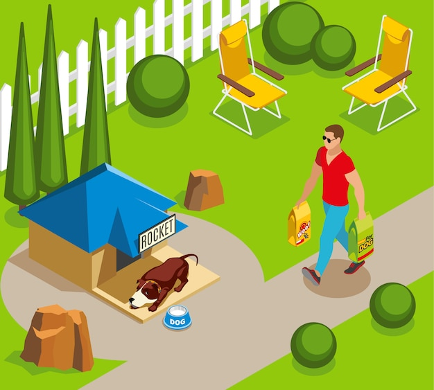 Dog ordinary life isometric illustration