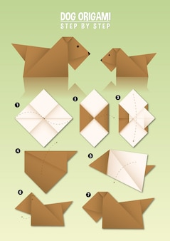Dog origami instruction step by step