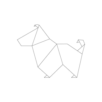 Dog in origami style. geometric shape of folded paper, template for line logo. vector illustration.