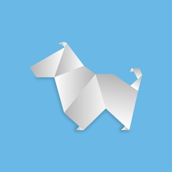 Dog in origami style. geometric shape of folded paper. vector illustration.