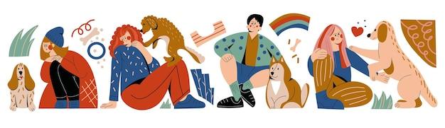 犬の飼い主はペットのフラットベクトルイラストセットを抱きしめます若い人たちはコンパニオン子犬と抱きしめます