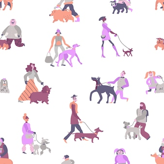 Dog owners with pets including poodle, terrier, greyhound and dachshund  seamless pattern