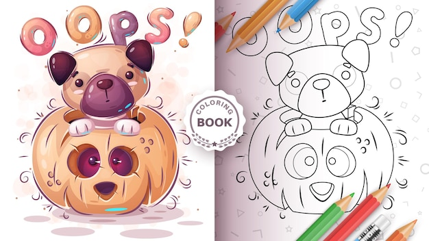 Dog in pampkin  coloring book for kids and children vecor eps