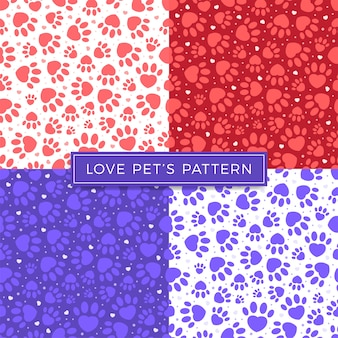 Dog paw cat paw heart love puppy vector seamless pattern.