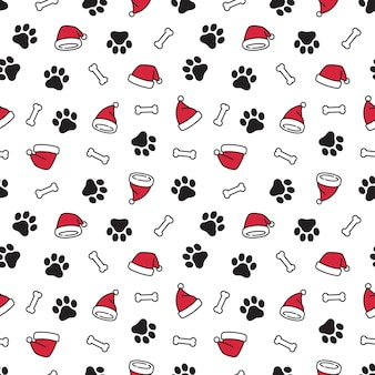 Dog paw christmas santa claus hat seamless pattern