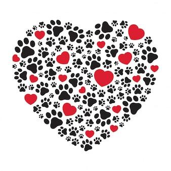 Dog paw footprint heart icon