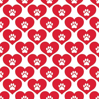 Dog paw footprint seamless pattern heart