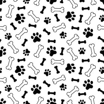 犬の足のシームレスなパターンの骨の漫画