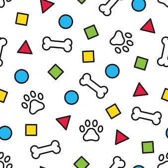 Dog paw seamless pattern footprint bone