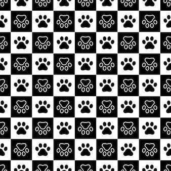 Dog paw seamless pattern footprint checked cartoon