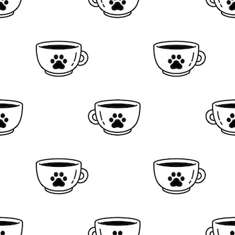 Dog paw seamless pattern footprint coffee cup tea cartoon illustration