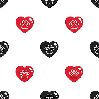 Dog paw seamless pattern footprint heart