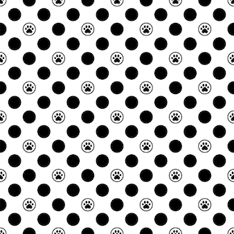 Dog paw seamless pattern footprint polka dot cartoon