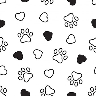 Dog paw seamless pattern heart footprint