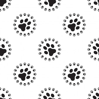 Dog paw seamless pattern vector isolated