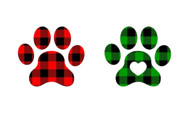 Dog paws silhouettes with christmas buffalo checkered pattern