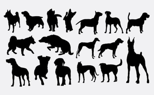 개 애완 동물 동물 실루엣
