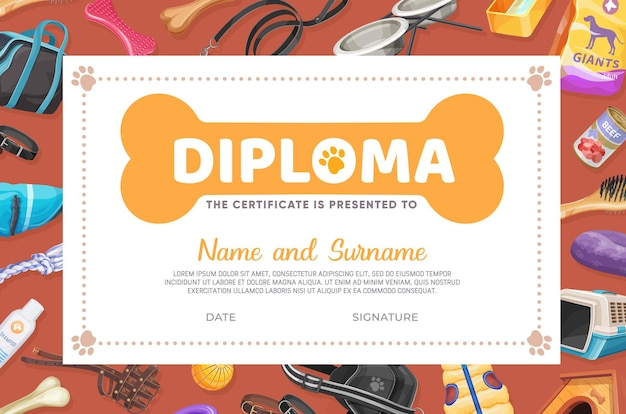 Диплом по уходу за домашними животными, векторный шаблон сертификата