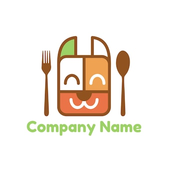 Dog or pet food and lunch box vector logo template with spoon and fork cutlery in white background