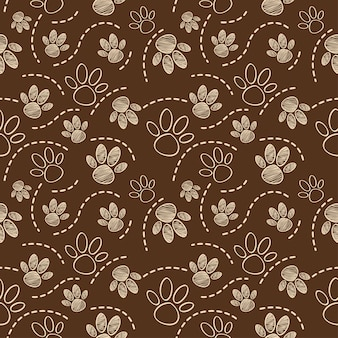 Dog pet foot draw seamless pattern