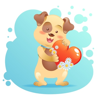 Dog pet isolated holding heart
