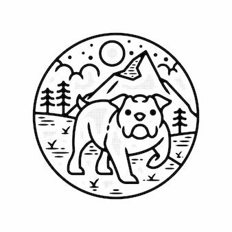 Собака домашнее животное на открытом воздухе минималистичный винтажный логотип значок шаблон монолинии иллюстрация премиум векторы
