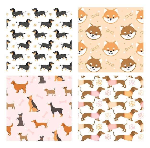 犬のペットのシームレスなパターンのイラスト。黒茶色の犬または面白い子犬の顔、足跡