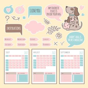 Расписание и коллекция шаблонов dog planner 2022 с элементами дизайна