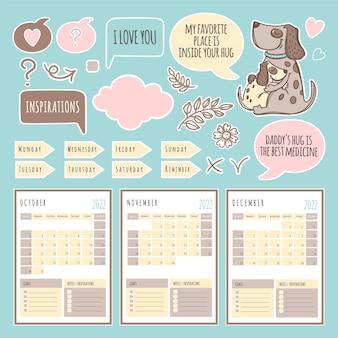 Шаблон расписания и коллекции dog planner winter 2022 с элементами дизайна