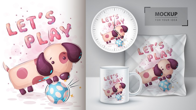 Dog play football - poster and merchandising