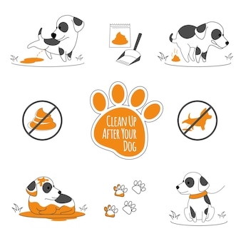 Dog pooping information. clean up after your pets, illustration