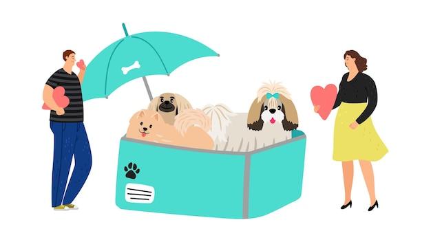 개 보호. 우산 아래 상자에 개입니다. 귀여운 애완동물과 사람, 동물을 입양하거나 기부 벡터 개념을 만드세요